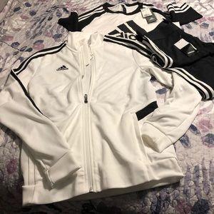 Adidas workout set.  7/8 Capri, shirt& jacket. NWT